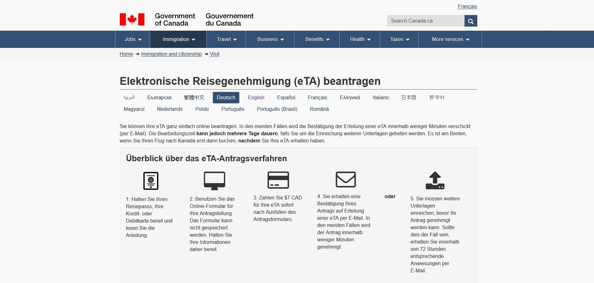 Website für eTA-Antrag