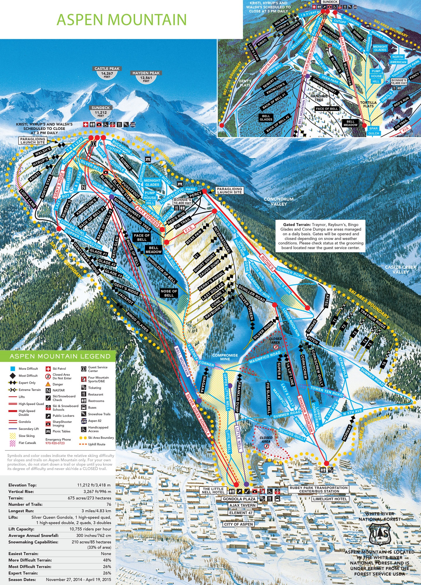 La carte du domaine skiable d'Aspen Mountain