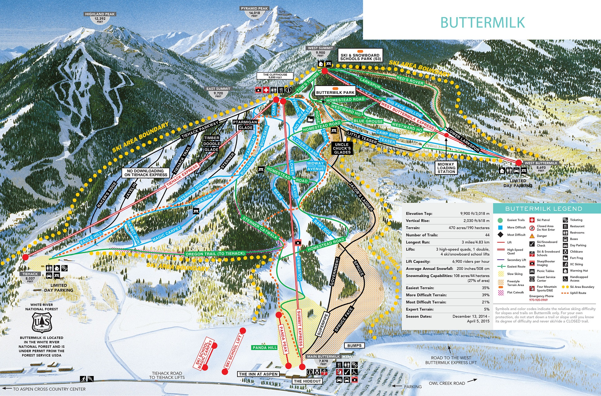 La carte du domaine skiable de Buttermilk