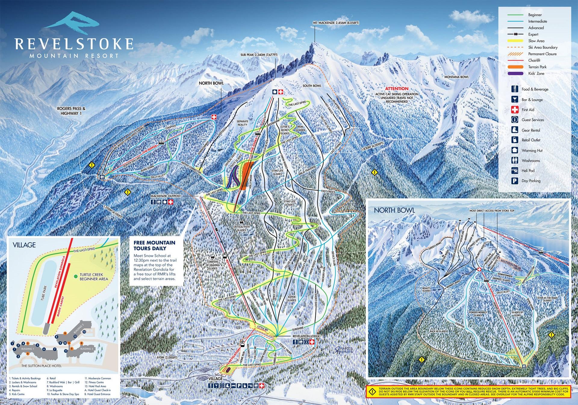 Plan des pistes de Revelstoke